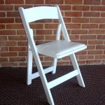 Chair white wood padded seat folding