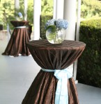Chocolate pintuck brown linen blue sash