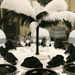feathers black white centerpiece