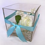 square 6in vase glass floral gemstones