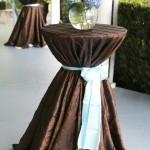 Chocolate pintuck brown linen blue sash