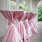 pink satin linens wrapped cocktail tables