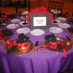 purple n polkadot napkinwrapped redribbon