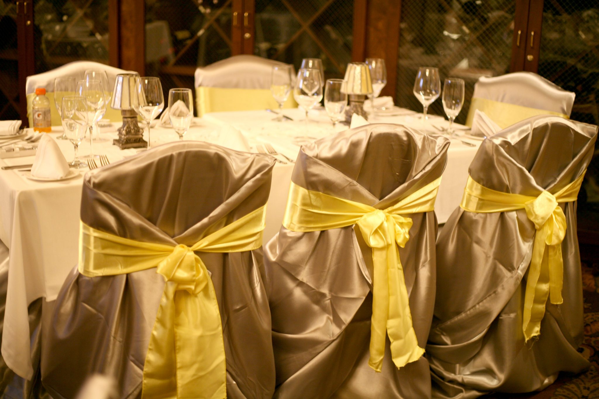 Yellow Satin Sashes Ties On White Chair Covers Wedding Linen Als Grey Runners Genesis Center Gary