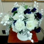 Blue white floral centerpiece