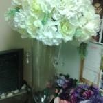 Vase tall hydrangea centerpiece