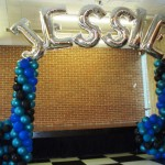 Musical notes name balloon arch rock star Jessie 062808