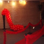Red Carpet High Heel Shoe Balloon Sculpture feather boas