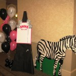 Zebra cutout backdrop signin board