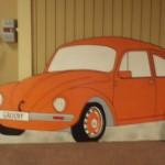 VW Backdrop - 1950's VW Bug - Orange