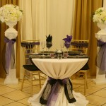 black organza runner sweetheart table