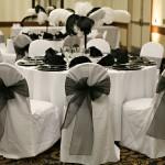 black organza sash white chair cover black sash