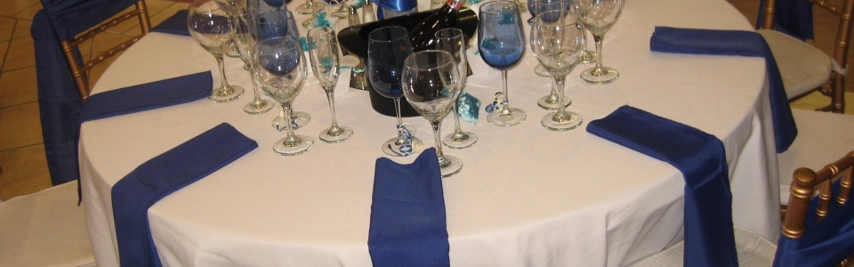 blue glassware royal blue napkin sash top hat ice bucket