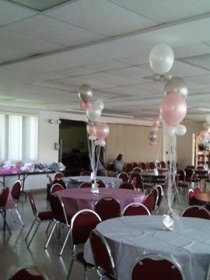 Ballons Pink White Silver